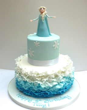 Frozen and Elsa Ruffle Cake